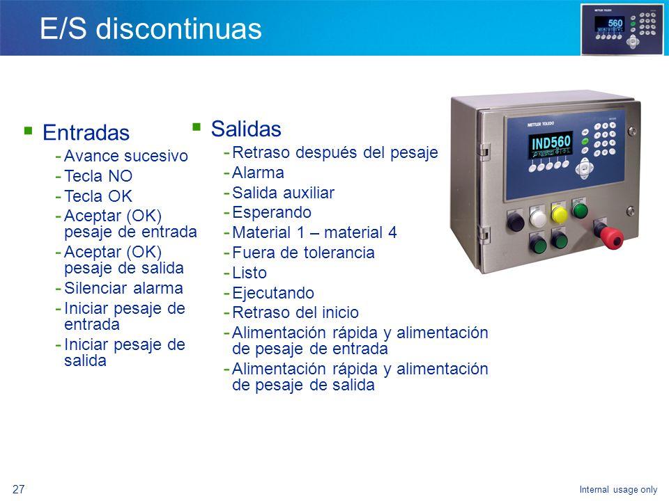 Internal usage only 25 Introducción general - Ventajas de la IND560fill - Configuración del modelo - Cómo lograr la funcionalidad de llenado - Termino