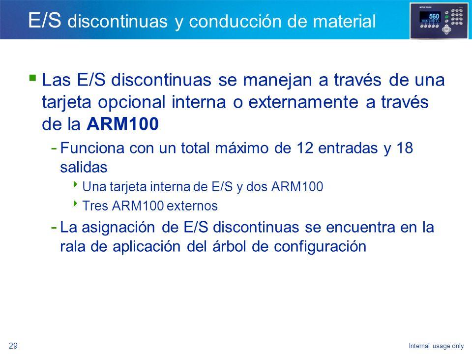 Internal usage only 27 E/S discontinuas Salidas - Retraso después del pesaje - Alarma - Salida auxiliar - Esperando - Material 1 – material 4 - Fuera