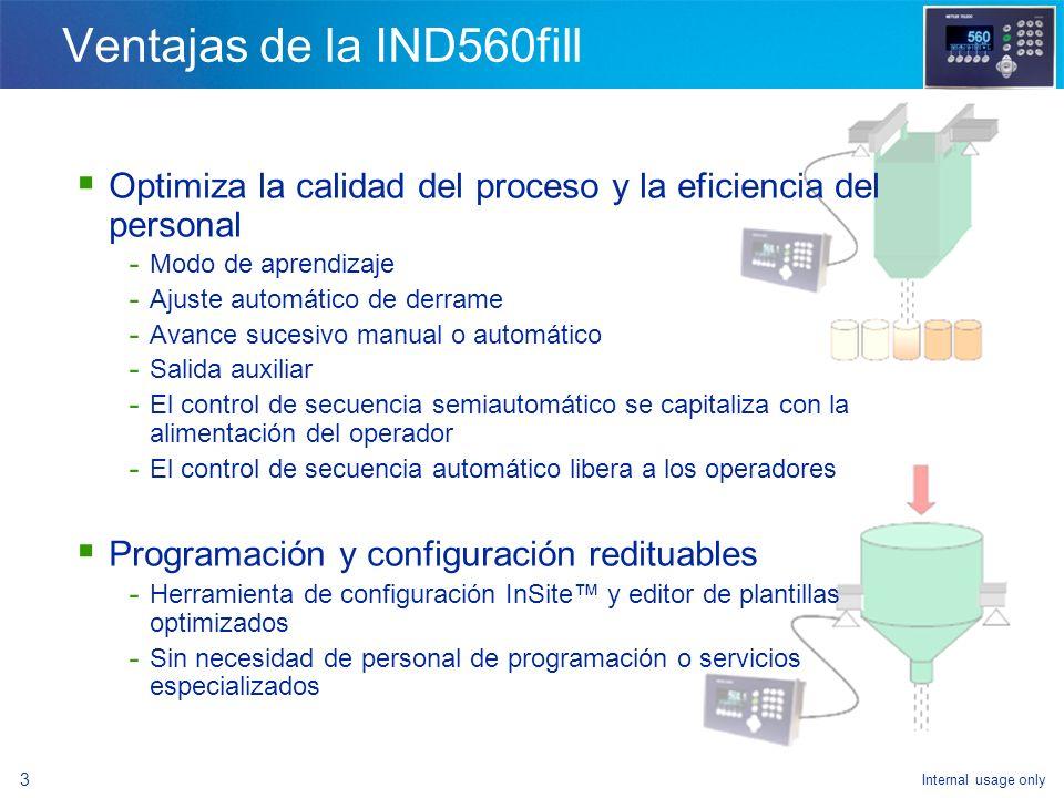 Internal usage only 1 Introducción general - Ventajas de la IND560fill - Configuración del modelo - Cómo lograr la funcionalidad de llenado - Funciona