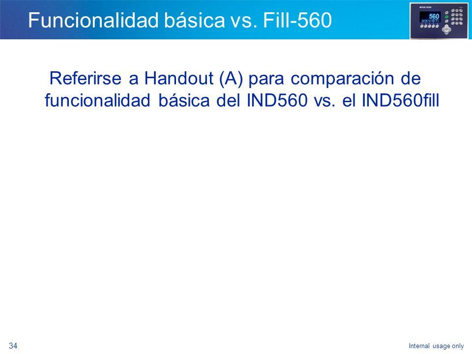 Internal usage only 32 IND560fill ¿En dónde utilizar la aplicación de llenado? - Dosificación con rellenado controlado - Llenado de super sacos - Mezc