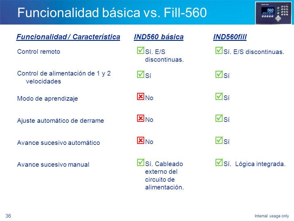 Internal usage only 34 Funcionalidad básica vs. Fill-560 Referirse a Handout (A) para comparación de funcionalidad básica del IND560 vs. el IND560fill