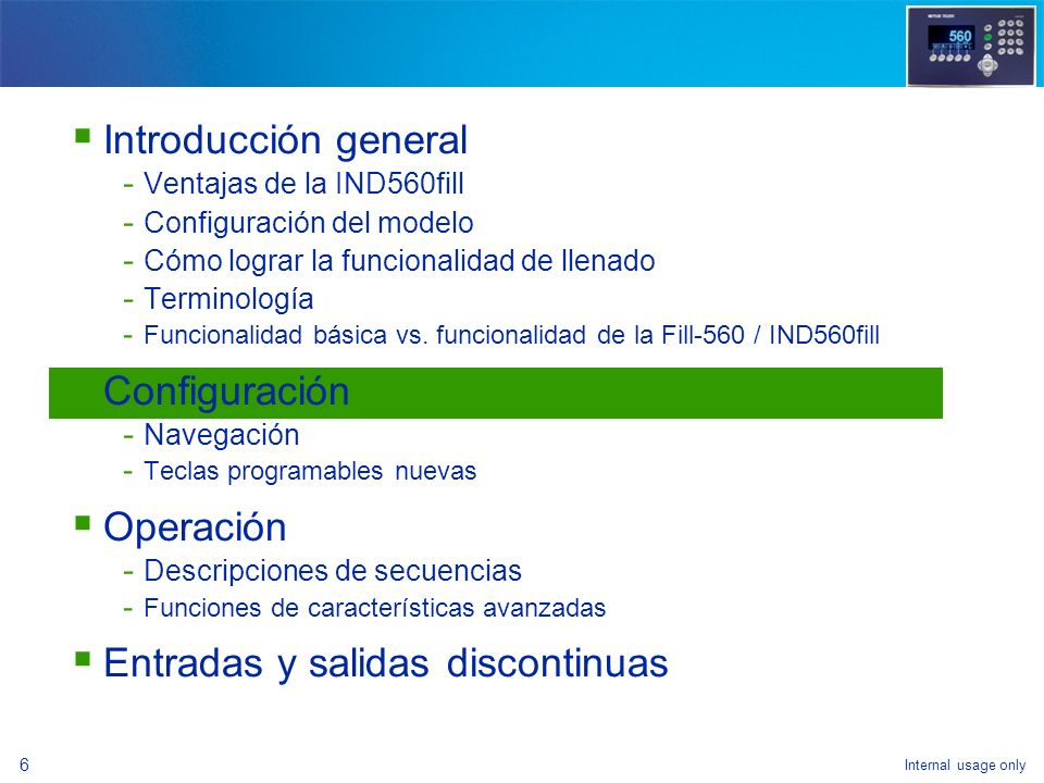 Internal usage only 35 Funcionalidad básica vs.