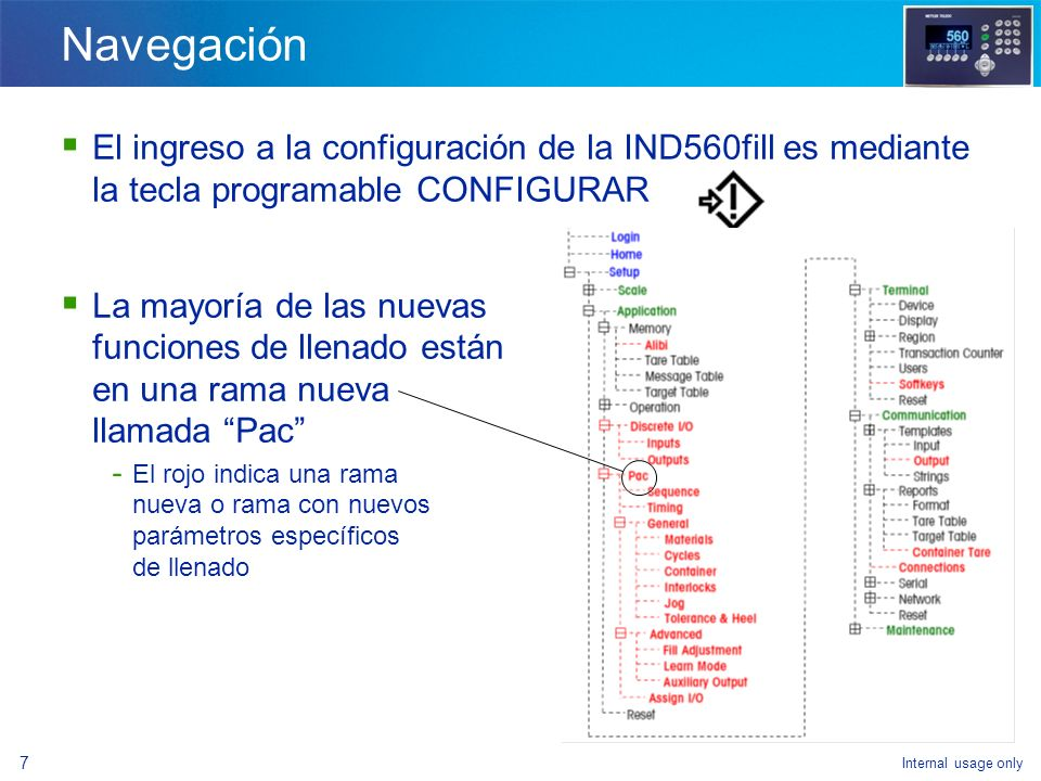 Internal usage only 36 Funcionalidad básica vs.