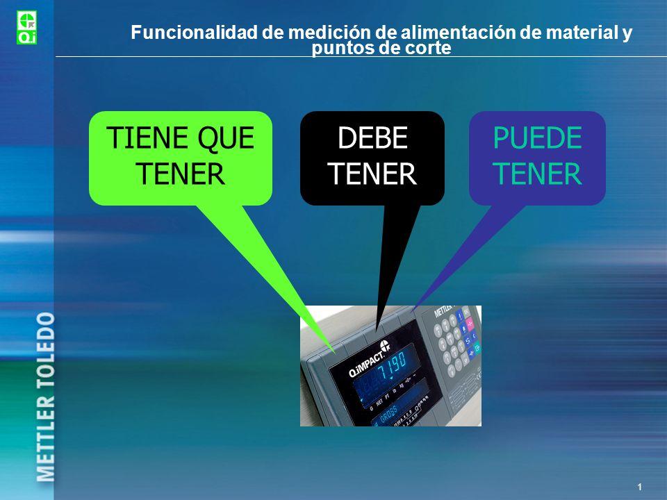 1 Funcionalidad de medición de alimentación de material y puntos de corte TIENE QUE TENER DEBE TENER PUEDE TENER