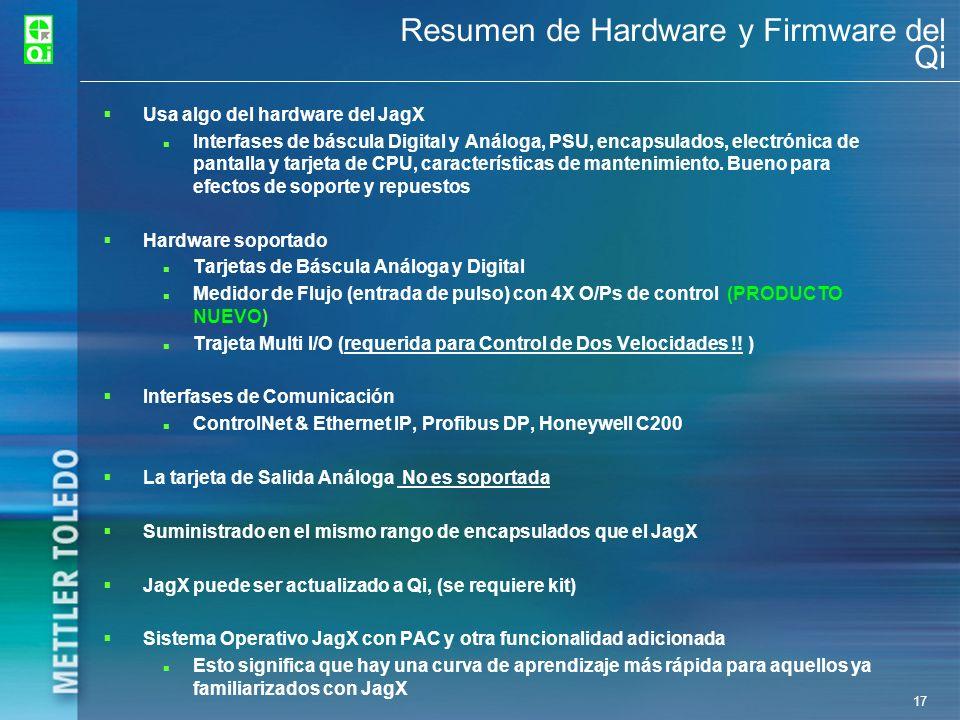 17 Resumen de Hardware y Firmware del Qi Usa algo del hardware del JagX Interfases de báscula Digital y Análoga, PSU, encapsulados, electrónica de pan
