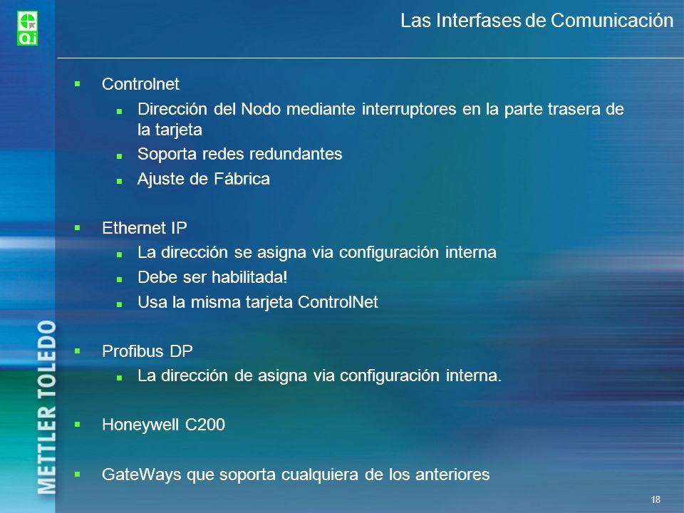 18 Las Interfases de Comunicación Controlnet Dirección del Nodo mediante interruptores en la parte trasera de la tarjeta Soporta redes redundantes Aju