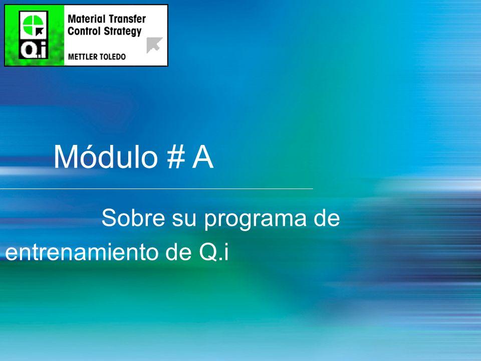 2 Módulo # A Sobre su programa de entrenamiento de Q.i
