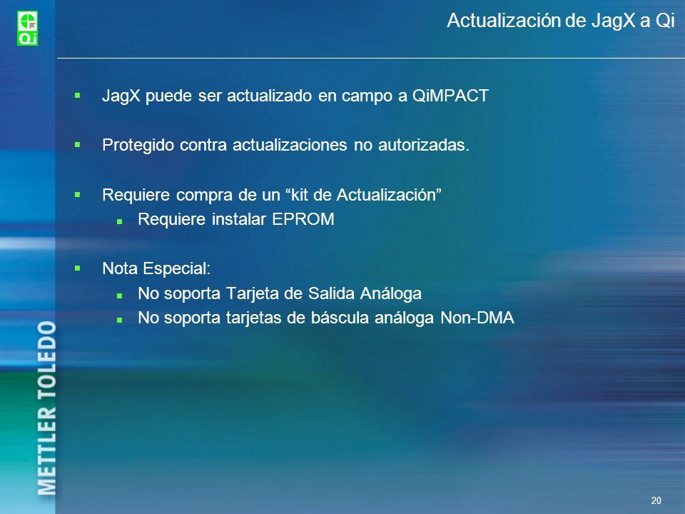 20 Actualización de JagX a Qi JagX puede ser actualizado en campo a QiMPACT Protegido contra actualizaciones no autorizadas. Requiere compra de un kit