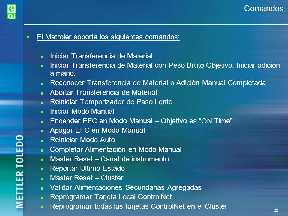 22 Comandos El Matroler soporta los siguientes comandos: Iniciar Transferencia de Material. Iniciar Transferencia de Material con Peso Bruto Objetivo,