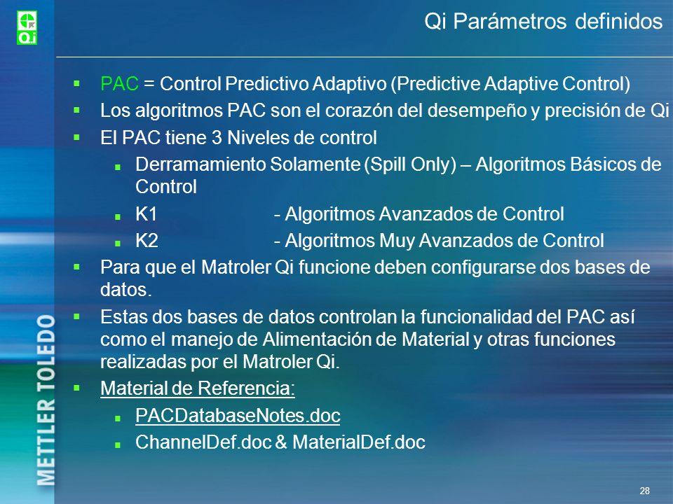 28 Qi Parámetros definidos PAC = Control Predictivo Adaptivo (Predictive Adaptive Control) Los algoritmos PAC son el corazón del desempeño y precisión