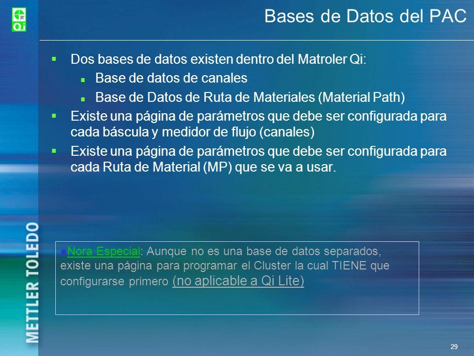 29 Bases de Datos del PAC Dos bases de datos existen dentro del Matroler Qi: Base de datos de canales Base de Datos de Ruta de Materiales (Material Pa