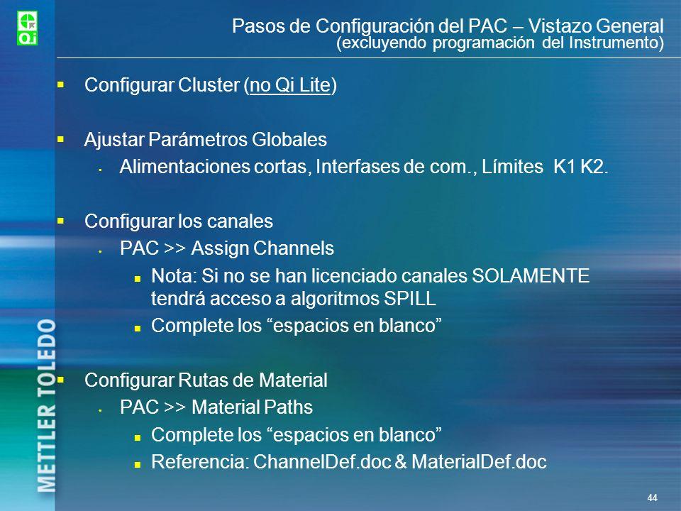 44 Pasos de Configuración del PAC – Vistazo General (excluyendo programación del Instrumento) Configurar Cluster (no Qi Lite) Ajustar Parámetros Globa