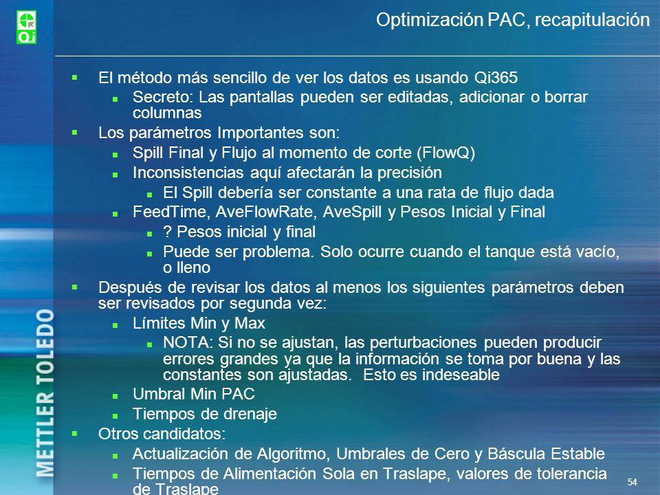 54 Optimización PAC, recapitulación El método más sencillo de ver los datos es usando Qi365 Secreto: Las pantallas pueden ser editadas, adicionar o bo