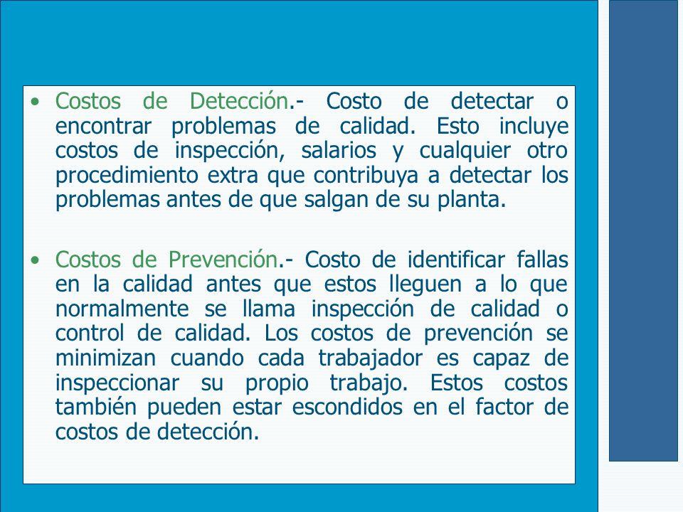 Costos de Detección.- Costo de detectar o encontrar problemas de calidad. Esto incluye costos de inspección, salarios y cualquier otro procedimiento e