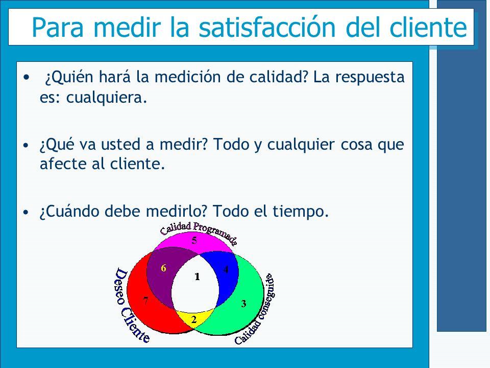 Para medir la satisfacción del cliente ¿Quién hará la medición de calidad? La respuesta es: cualquiera. ¿Qué va usted a medir? Todo y cualquier cosa q