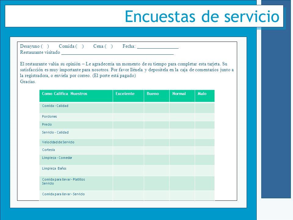 Encuestas de servicio Desayuno ( ) Comida ( ) Cena ( ) Fecha: _________________ Restaurante visitado ______________________________________________ El