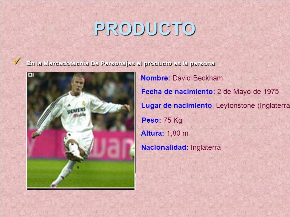 PRODUCTO En la Mercadotecnia De Personajes el producto es la persona En la Mercadotecnia De Personajes el producto es la persona Nombre: David Beckham