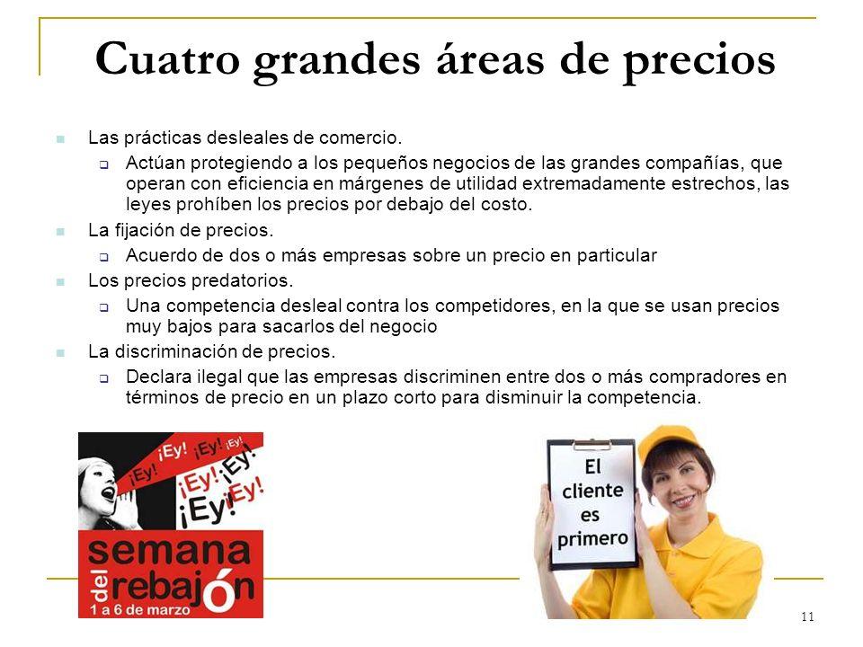 11 Cuatro grandes áreas de precios Las prácticas desleales de comercio. Actúan protegiendo a los pequeños negocios de las grandes compañías, que opera