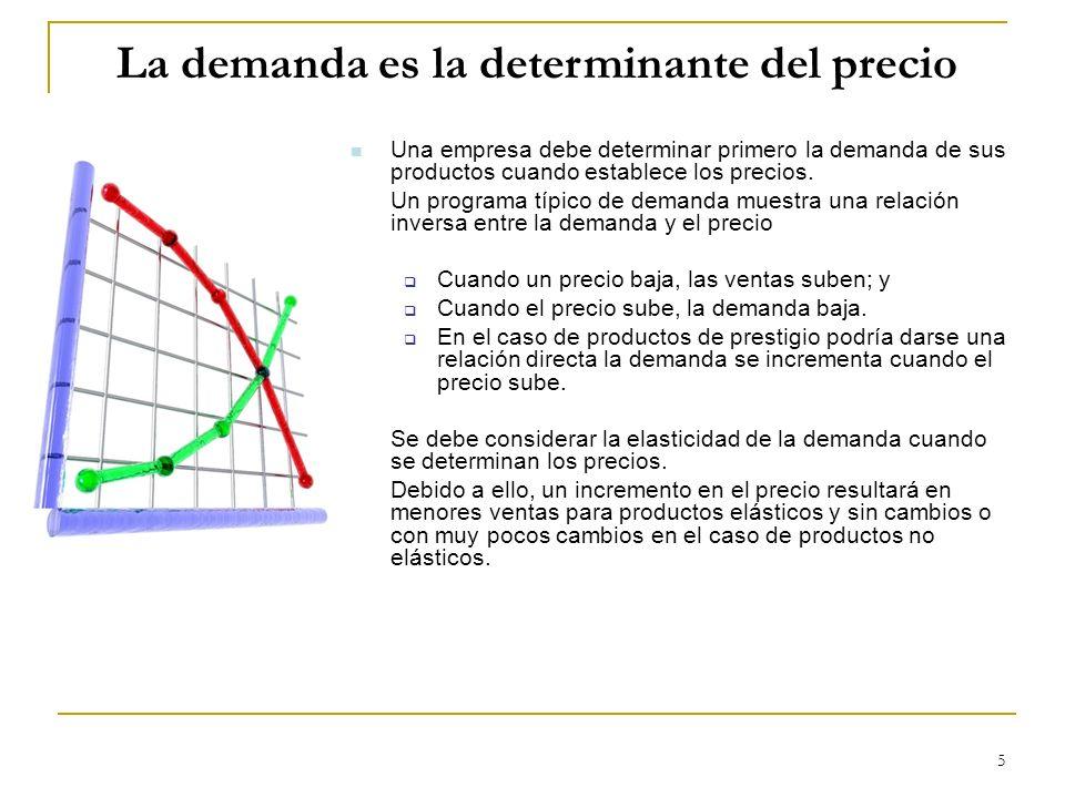 5 La demanda es la determinante del precio Una empresa debe determinar primero la demanda de sus productos cuando establece los precios. Un programa t