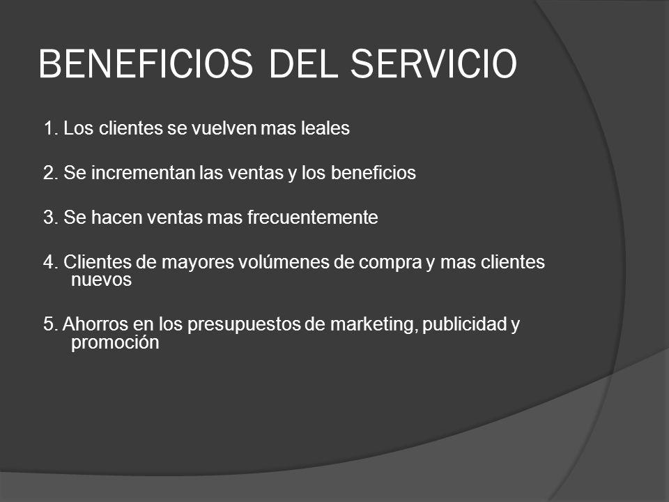 BENEFICIOS DEL SERVICIO 1. Los clientes se vuelven mas leales 2. Se incrementan las ventas y los beneficios 3. Se hacen ventas mas frecuentemente 4. C