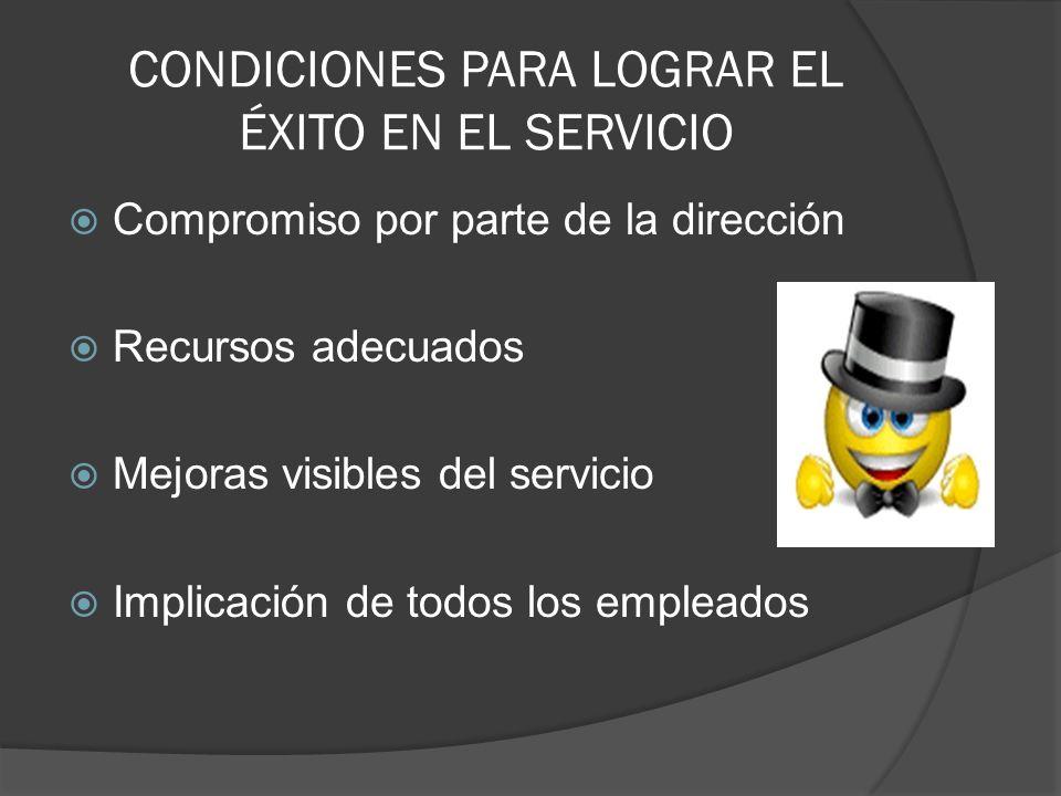 CONDICIONES PARA LOGRAR EL ÉXITO EN EL SERVICIO Compromiso por parte de la dirección Recursos adecuados Mejoras visibles del servicio Implicación de t