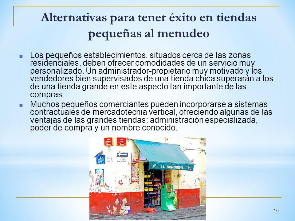 10 Alternativas para tener éxito en tiendas pequeñas al menudeo Los pequeños establecimientos, situados cerca de las zonas residenciales, deben ofrece