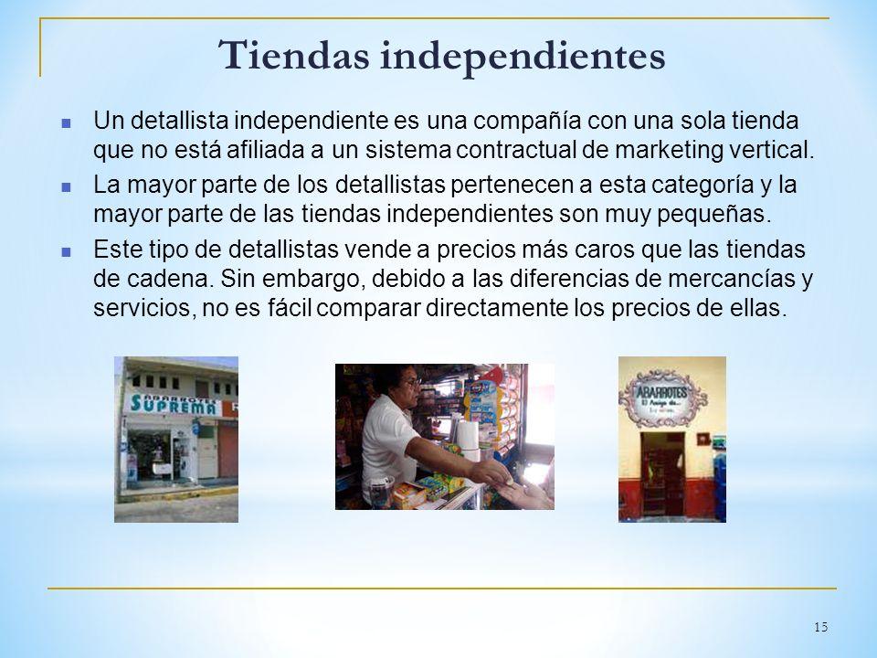 15 Tiendas independientes Un detallista independiente es una compañía con una sola tienda que no está afiliada a un sistema contractual de marketing v