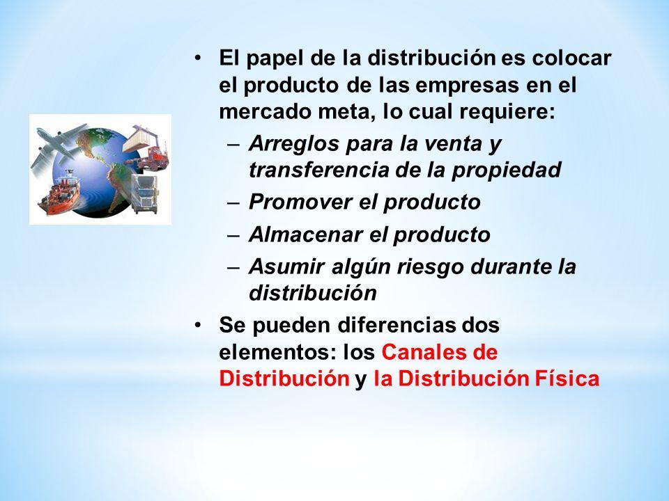 El papel de la distribución es colocar el producto de las empresas en el mercado meta, lo cual requiere: –Arreglos para la venta y transferencia de la