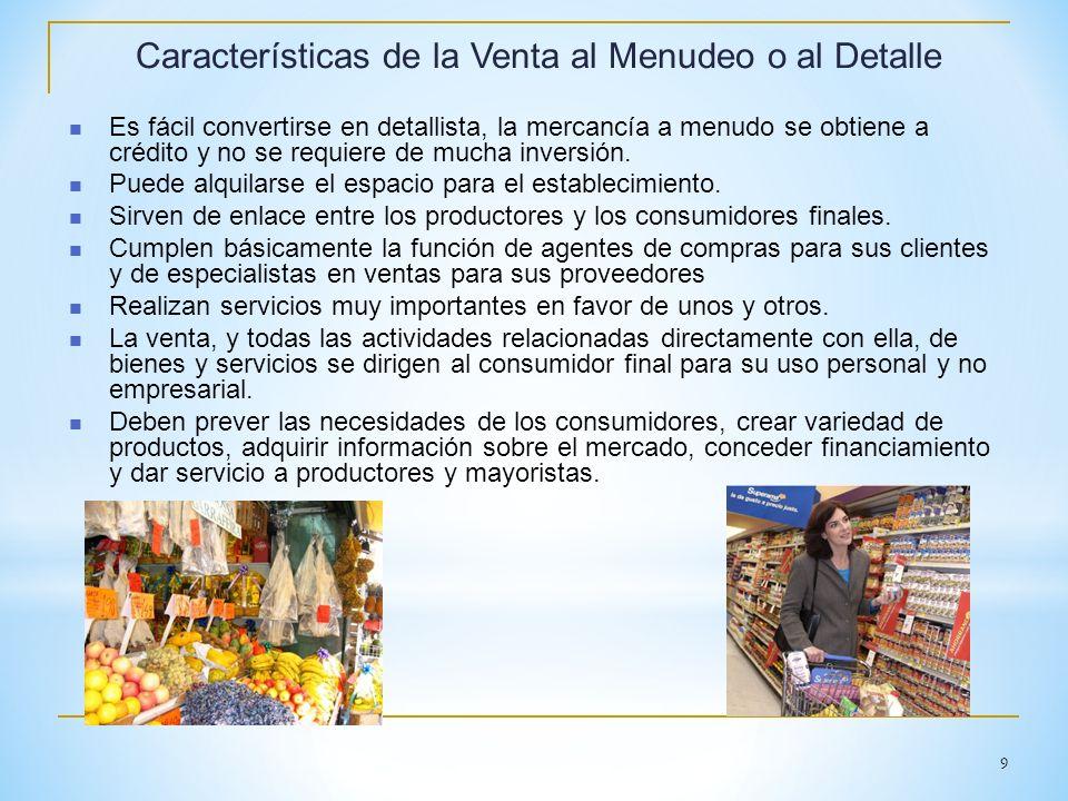 9 Características de la Venta al Menudeo o al Detalle Es fácil convertirse en detallista, la mercancía a menudo se obtiene a crédito y no se requiere