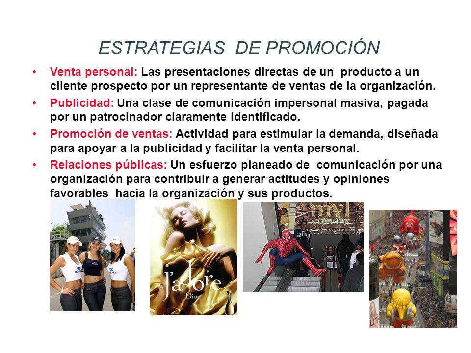 Venta personal: Las presentaciones directas de un producto a un cliente prospecto por un representante de ventas de la organización. Publicidad: Una c