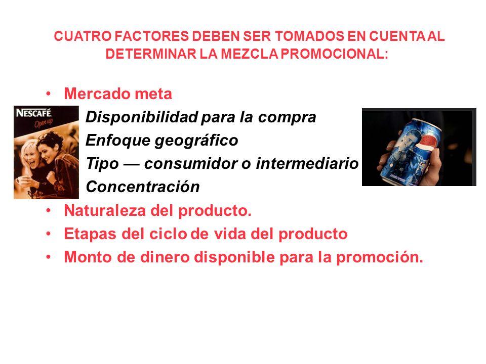 CUATRO FACTORES DEBEN SER TOMADOS EN CUENTA AL DETERMINAR LA MEZCLA PROMOCIONAL: Mercado meta –Disponibilidad para la compra –Enfoque geográfico –Tipo