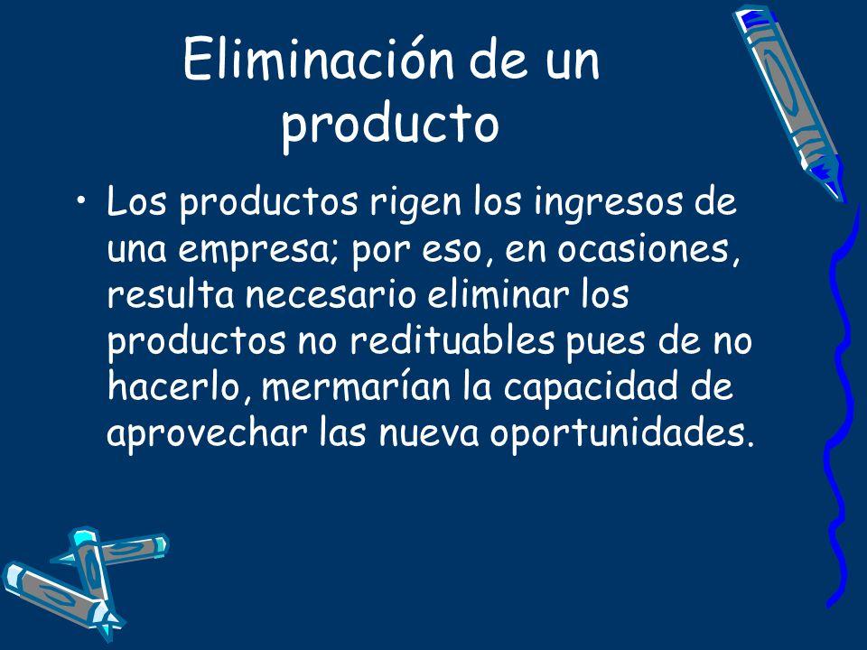 Eliminación de un producto Los productos rigen los ingresos de una empresa; por eso, en ocasiones, resulta necesario eliminar los productos no reditua