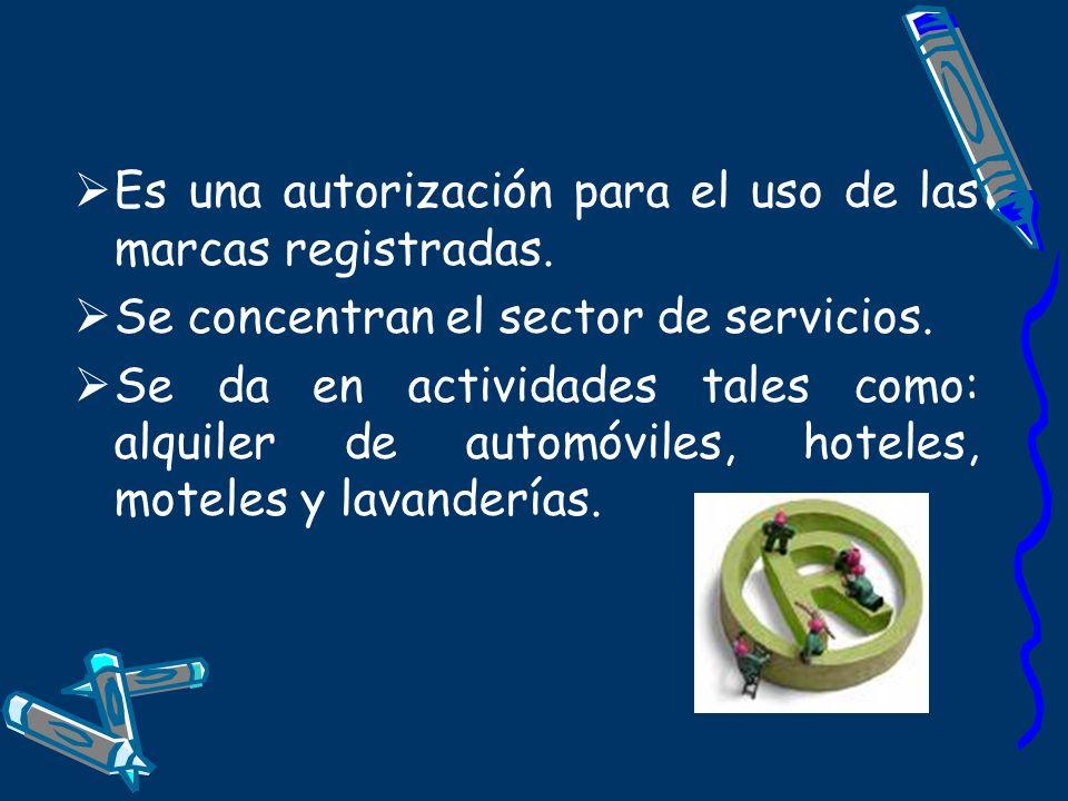 Es una autorización para el uso de las marcas registradas. Se concentran el sector de servicios. Se da en actividades tales como: alquiler de automóvi