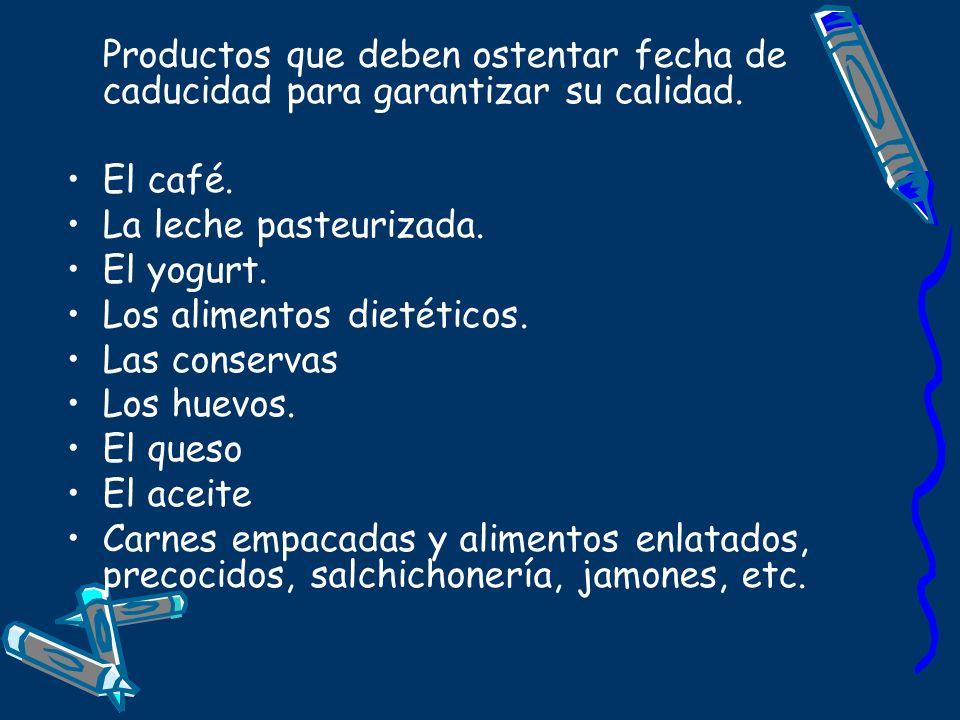 Productos que deben ostentar fecha de caducidad para garantizar su calidad. El café. La leche pasteurizada. El yogurt. Los alimentos dietéticos. Las c