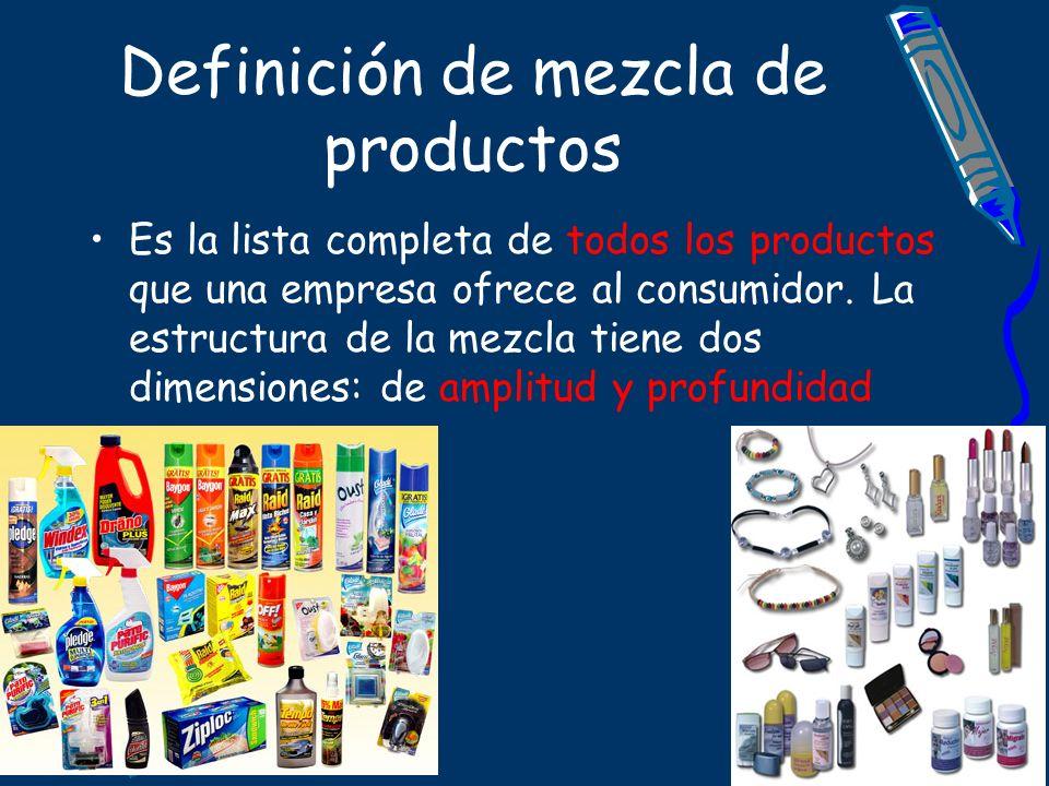 Definición de mezcla de productos Es la lista completa de todos los productos que una empresa ofrece al consumidor. La estructura de la mezcla tiene d