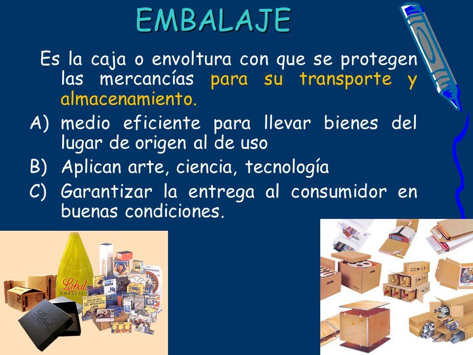 EMBALAJE Es la caja o envoltura con que se protegen las mercancías para su transporte y almacenamiento. A)medio eficiente para llevar bienes del lugar