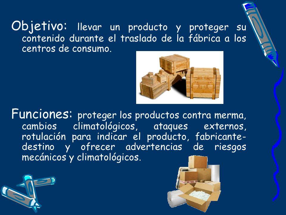 Objetivo: llevar un producto y proteger su contenido durante el traslado de la fábrica a los centros de consumo. Funciones: proteger los productos con