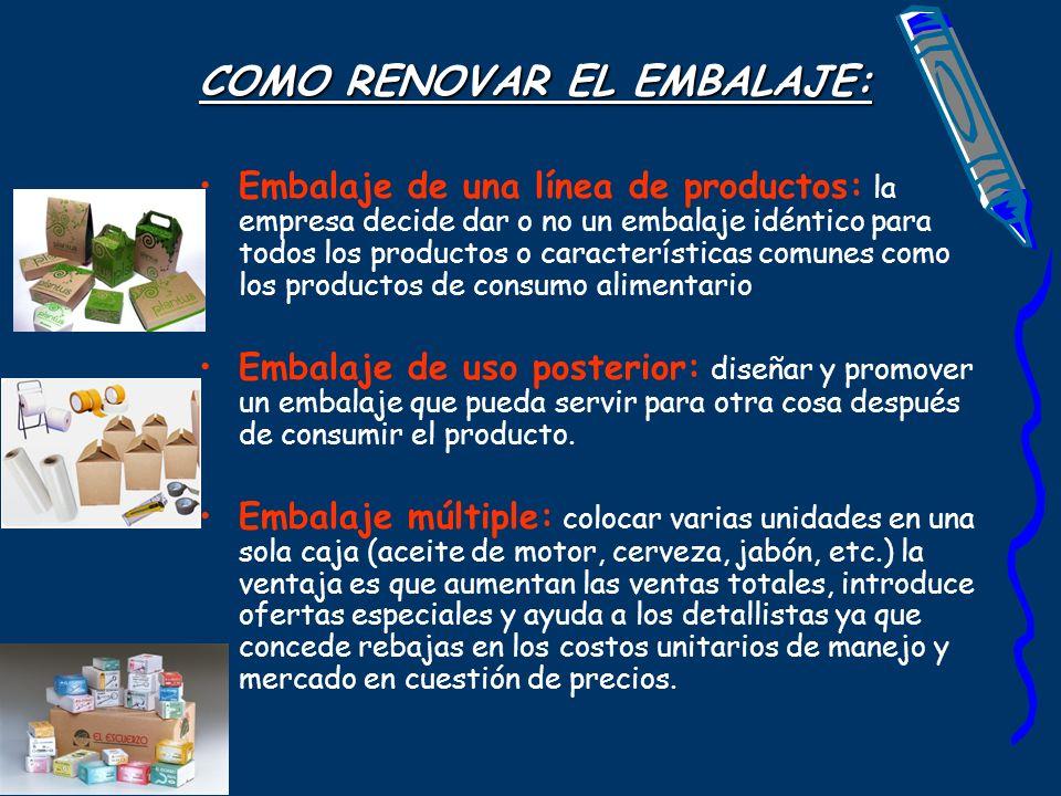 COMO RENOVAR EL EMBALAJE: Embalaje de una línea de productos: la empresa decide dar o no un embalaje idéntico para todos los productos o característic