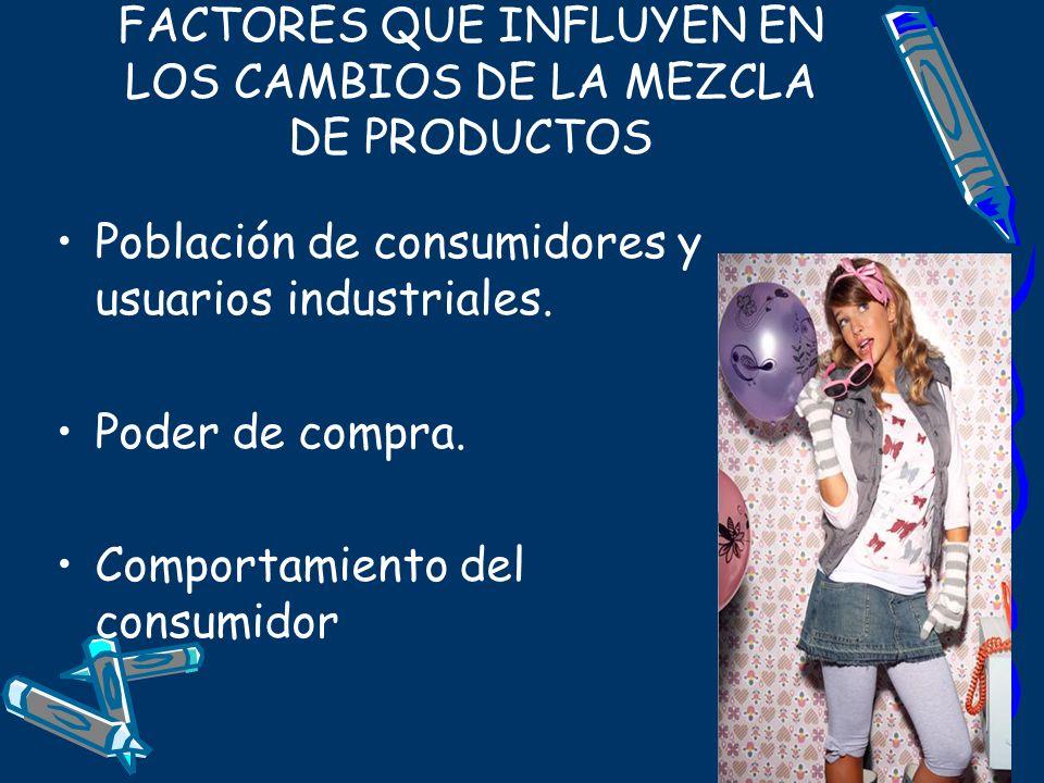 FACTORES QUE INFLUYEN EN LOS CAMBIOS DE LA MEZCLA DE PRODUCTOS Población de consumidores y usuarios industriales. Poder de compra. Comportamiento del