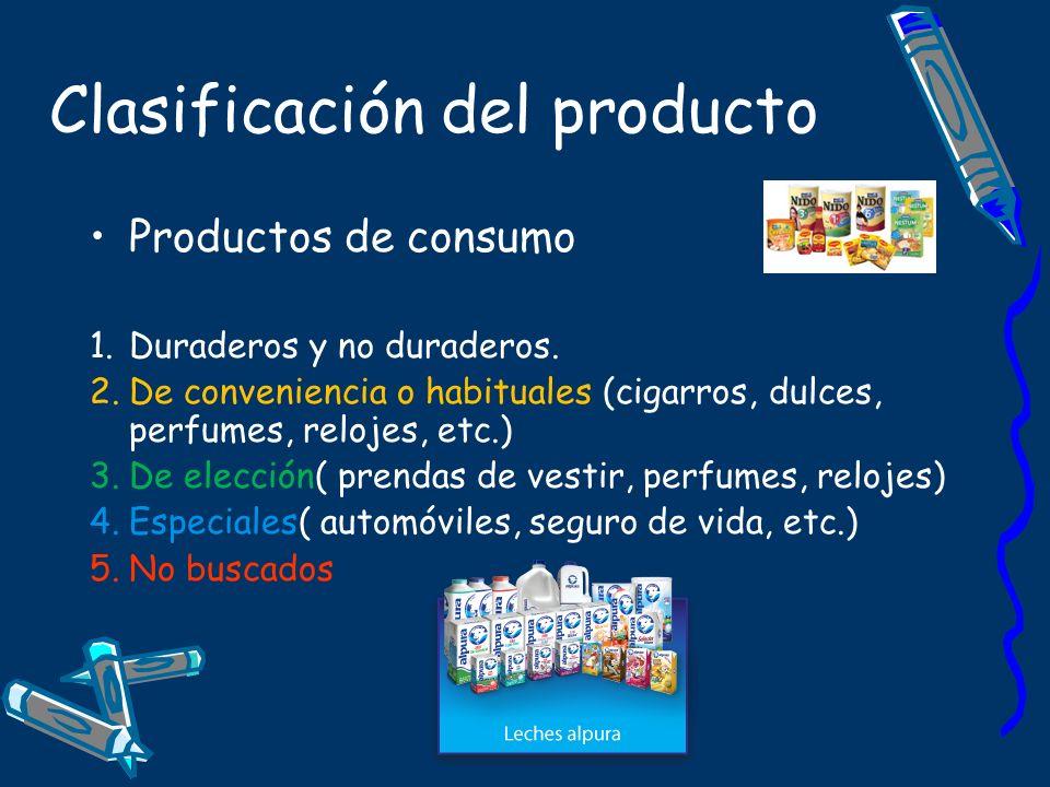 Clasificación del producto Productos de consumo 1.Duraderos y no duraderos. 2.De conveniencia o habituales (cigarros, dulces, perfumes, relojes, etc.)