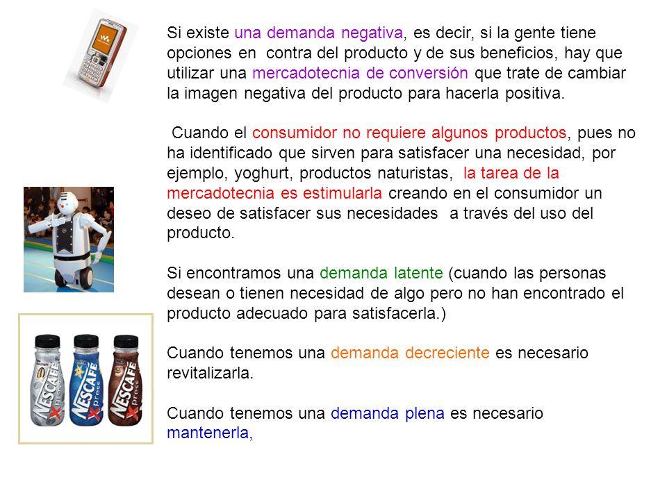 Si existe una demanda negativa, es decir, si la gente tiene opciones en contra del producto y de sus beneficios, hay que utilizar una mercadotecnia de