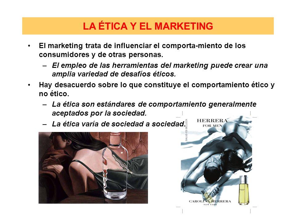 El marketing trata de influenciar el comporta-miento de los consumidores y de otras personas. –El empleo de las herramientas del marketing puede crear