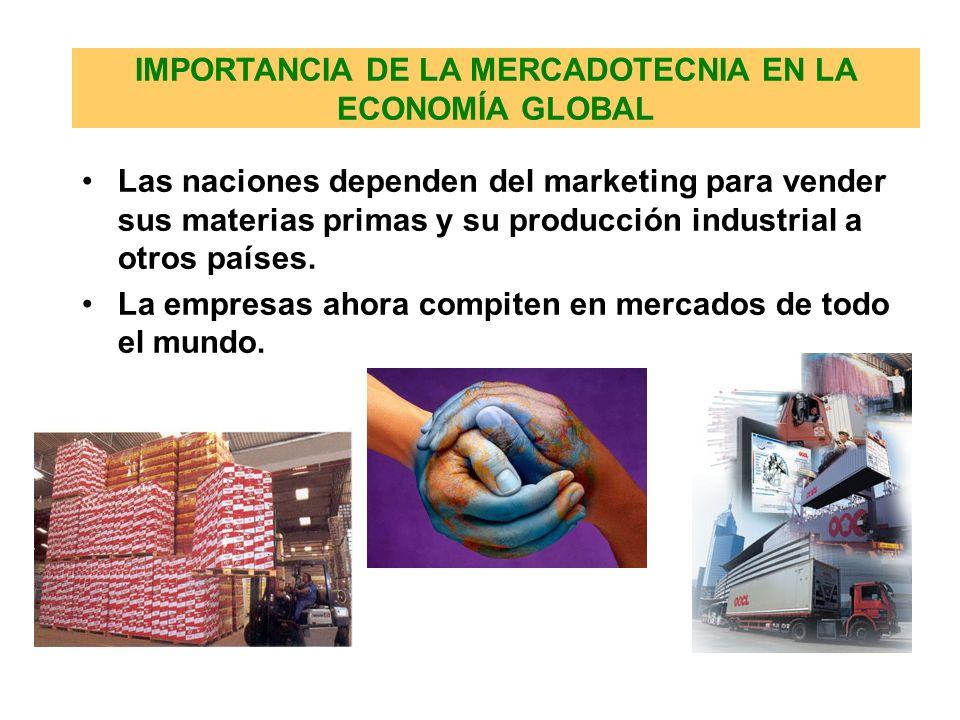 IMPORTANCIA DE LA MERCADOTECNIA EN LA ECONOMÍA GLOBAL Las naciones dependen del marketing para vender sus materias primas y su producción industrial a