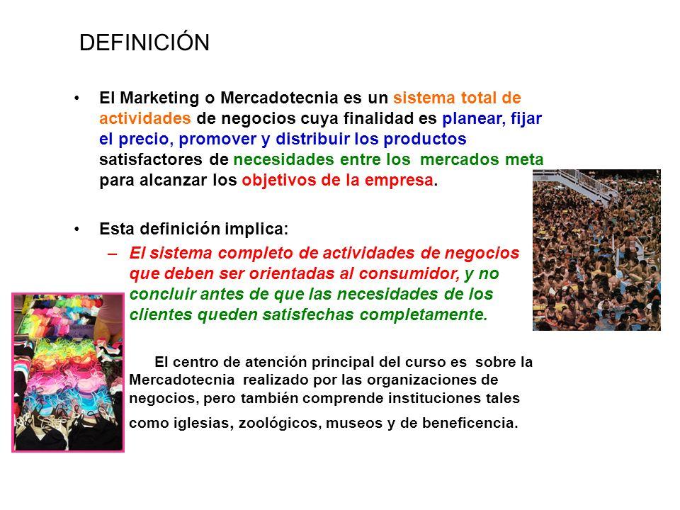 El Marketing o Mercadotecnia es un sistema total de actividades de negocios cuya finalidad es planear, fijar el precio, promover y distribuir los prod