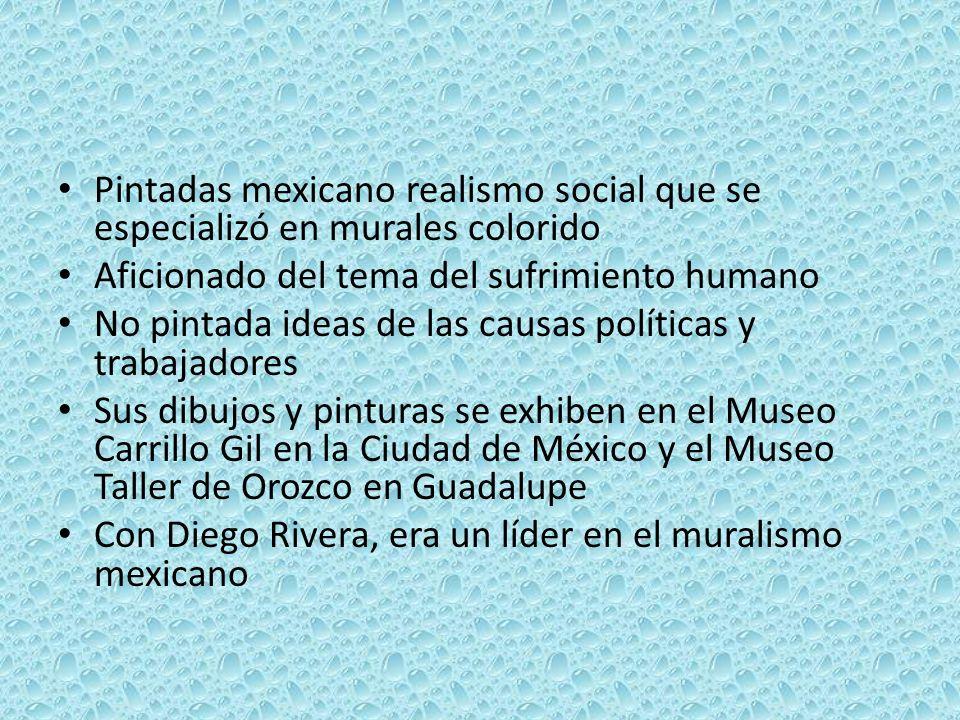 Pintadas mexicano realismo social que se especializó en murales colorido Aficionado del tema del sufrimiento humano No pintada ideas de las causas políticas y trabajadores Sus dibujos y pinturas se exhiben en el Museo Carrillo Gil en la Ciudad de México y el Museo Taller de Orozco en Guadalupe Con Diego Rivera, era un líder en el muralismo mexicano