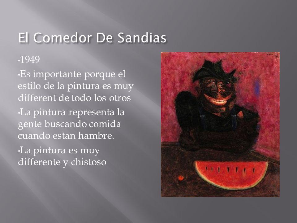 El Comedor De Sandias 1949 Es importante porque el estilo de la pintura es muy different de todo los otros La pintura representa la gente buscando com