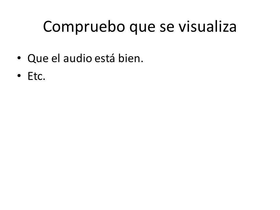 Compruebo que se visualiza Que el audio está bien. Etc.