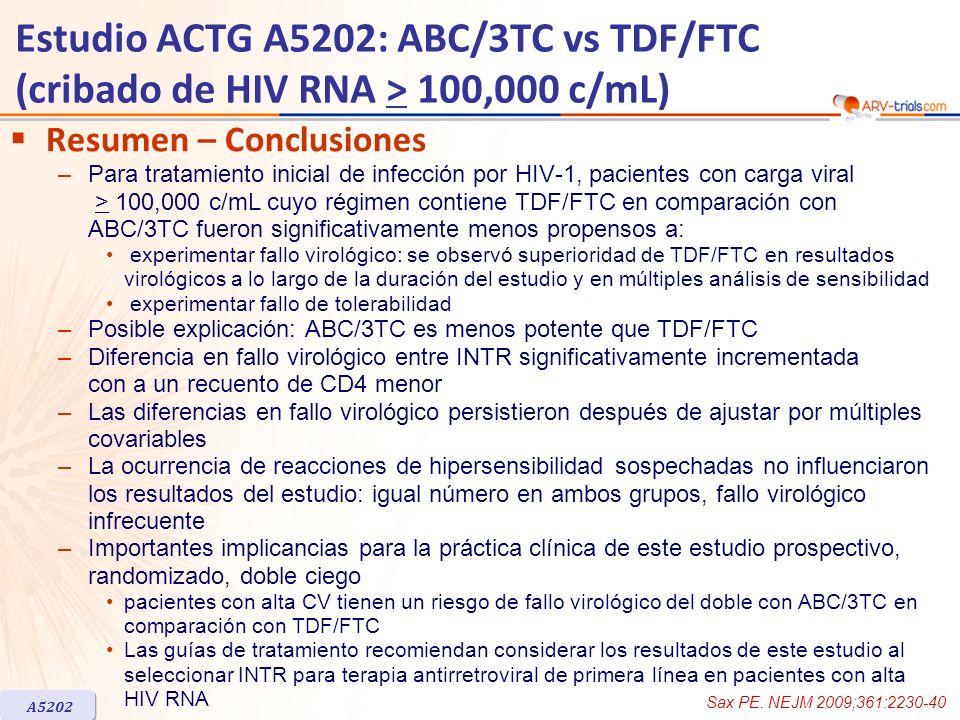 Estudio ACTG A5202: ABC/3TC vs TDF/FTC (cribado de HIV RNA > 100,000 c/mL) Resumen – Conclusiones –Para tratamiento inicial de infección por HIV-1, pa