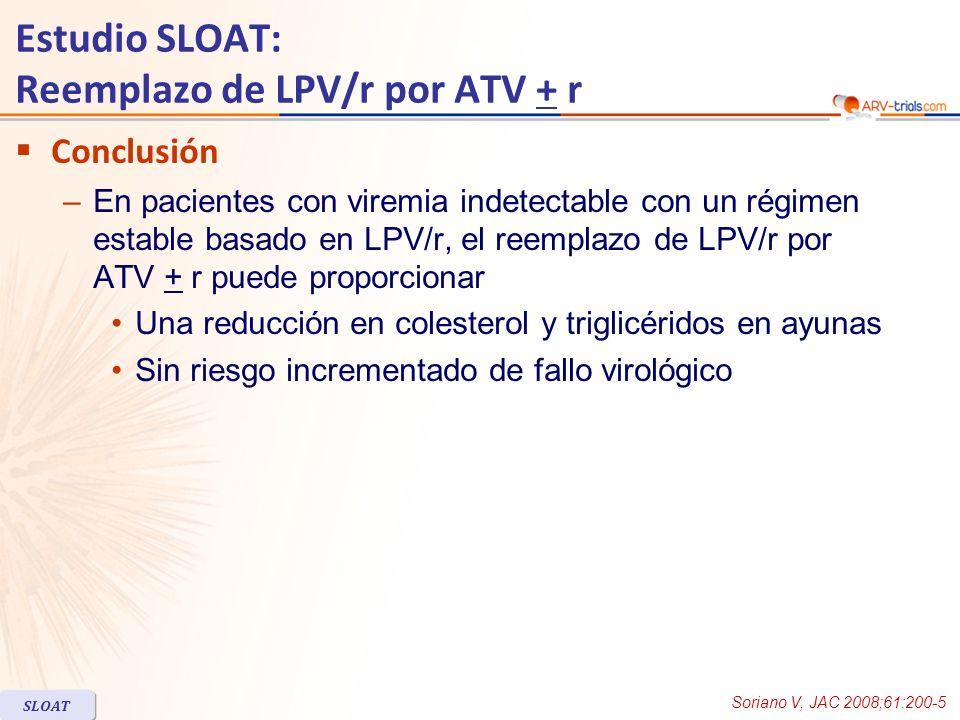 Estudio SLOAT: Reemplazo de LPV/r por ATV + r Conclusión –En pacientes con viremia indetectable con un régimen estable basado en LPV/r, el reemplazo de LPV/r por ATV + r puede proporcionar Una reducción en colesterol y triglicéridos en ayunas Sin riesgo incrementado de fallo virológico Soriano V, JAC 2008;61:200-5 SLOAT