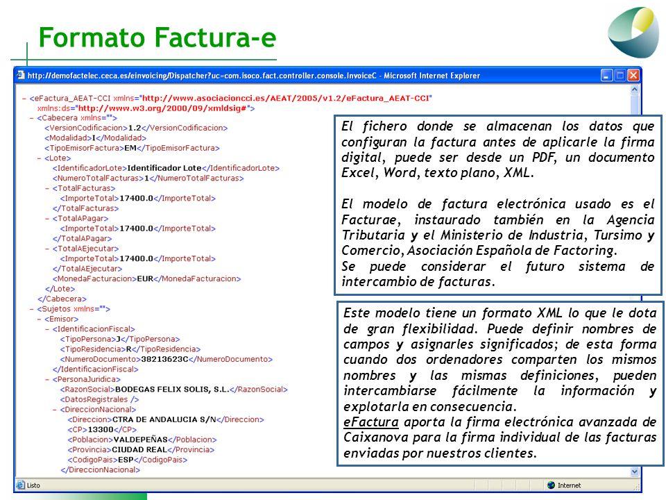 Formato Factura-e El fichero donde se almacenan los datos que configuran la factura antes de aplicarle la firma digital, puede ser desde un PDF, un do
